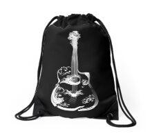 guitar white Drawstring Bag