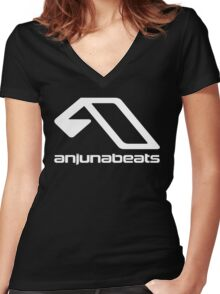 music-Anjunabeats Women's Fitted V-Neck T-Shirt
