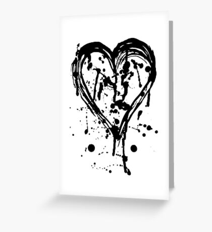 Black ink heart Greeting Card