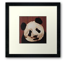 Cute panda wooden marquetry picture Framed Print