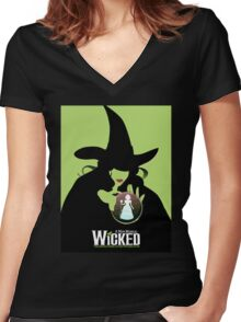 Wicked Broadway Musical Wizard Of Oz T-Shirt Women's Fitted V-Neck T-Shirt