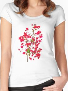 Red petals flowers Women's Fitted Scoop T-Shirt