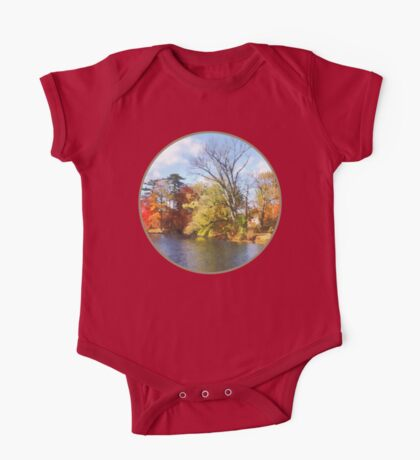 House by Lake in Autumn One Piece - Short Sleeve