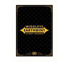Wiggleys' Earthmint Chewy Worms Black Tee/Poster Art Print