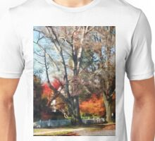 House With Picket Fence in Autumn Unisex T-Shirt