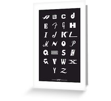 Kids ABCs Poster of Iconic Music Brands Greeting Card