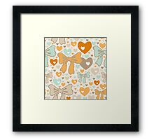 Seamless pattern with bows and hearts. Framed Print