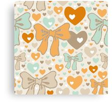 Seamless pattern with bows and hearts. Canvas Print