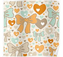Seamless pattern with bows and hearts. Poster