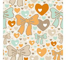 Seamless pattern with bows and hearts. Photographic Print