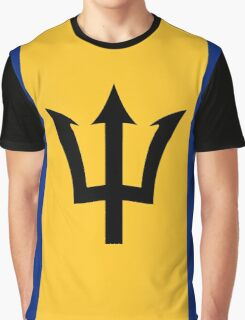 Flag of Barbados Trident of Neptune Graphic T-Shirt