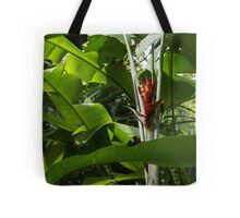 Red Ginger Flower, Framed in Lush Jungle Green Tote Bag