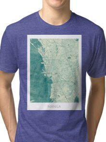 Manila Map Blue Vintage Tri-blend T-Shirt