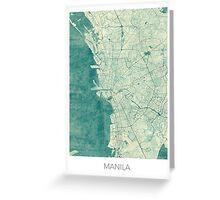 Manila Map Blue Vintage Greeting Card