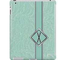 1920s Blue Deco Swing with Monogram letter X iPad Case/Skin