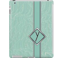 1920s Blue Deco Swing with Monogram letter Y iPad Case/Skin