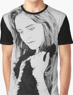 Digitally manipulated longing Emotional woman drawing in black and white  Graphic T-Shirt