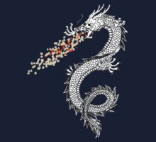 Dragon Throwing Flowers One Piece - Short Sleeve