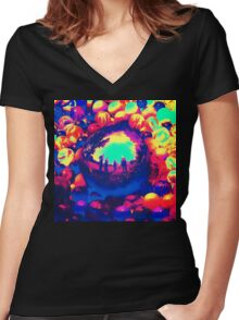 Retro Sphere of Reflections Women's Fitted V-Neck T-Shirt