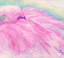A Bit Shy - Flamingo by Robin Monroe