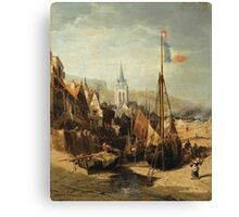 JULES-ACHILLE NOËL ; VIEW OF A TOWN IN NORMANDY Canvas Print