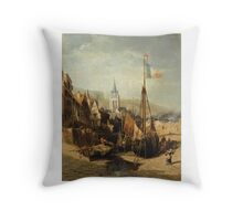 JULES-ACHILLE NOËL ; VIEW OF A TOWN IN NORMANDY Throw Pillow