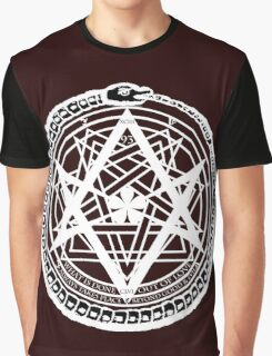 Thelemic Babalon Ouroboros with Nietzsche quote and Enochian script Graphic T-Shirt