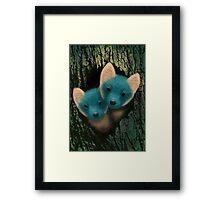 Fox Cubs Peeking Framed Print