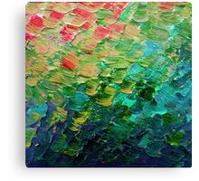 MERMAID SCALES 4 Rainbow Colorful Ombre Ocean Waves Abstract Acrylic Impasto Painting Teal  GreenArt Canvas Print