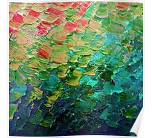 MERMAID SCALES 4 Rainbow Colorful Ombre Ocean Waves Abstract Acrylic Impasto Painting Teal  GreenArt Poster