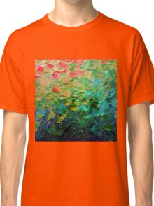 MERMAID SCALES 4 Rainbow Colorful Ombre Ocean Waves Abstract Acrylic Impasto Painting Teal  GreenArt Classic T-Shirt