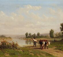 Karl Girardet, River Landscape with Shepherds and Cows by Adam Asar