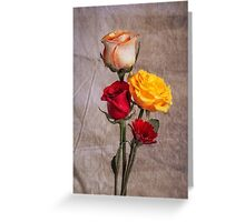 Floral Print With Roses Greeting Card