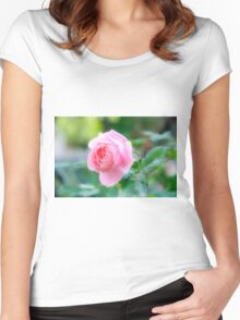 perfect pink garden rose  Women's Fitted Scoop T-Shirt