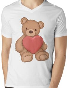 Teddy bear with heart Mens V-Neck T-Shirt