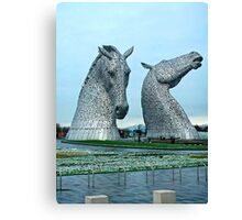 The Kelpies in January Canvas Print