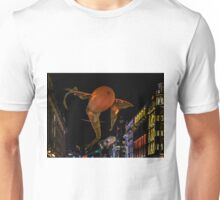 Winged Spermatoza Weaving to Music above Picadilly during The Festival of Light London 2016 Unisex T-Shirt