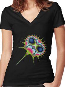 Neon Spike Virus Women's Fitted V-Neck T-Shirt