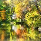 Little House by the Stream in Autumn by Susan Savad