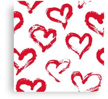 Ink brush HEARTS Canvas Print