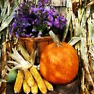 Pumpkin Corn and Asters by Susan Savad