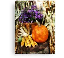 Pumpkin Corn and Asters Canvas Print