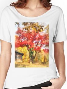 Red Autumn Sycamore Women's Relaxed Fit T-Shirt