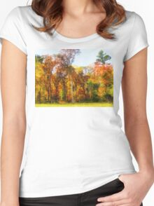 Row of Autumn Trees Women's Fitted Scoop T-Shirt