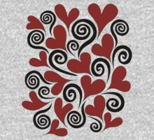 Red Hearts and Swirls One Piece - Long Sleeve