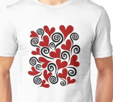 Red Hearts and Swirls Unisex T-Shirt