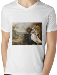 Whippet Art Canvas Print - The rural road and horseride Lady Mens V-Neck T-Shirt