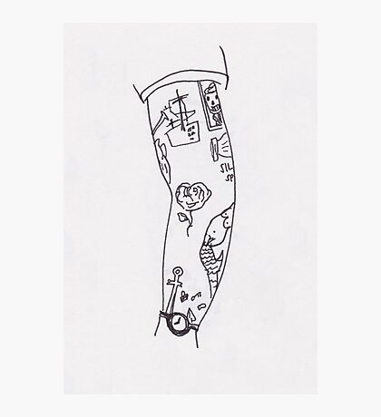 Poorly Drawn Harry Arm Tattoos Photographic Print
