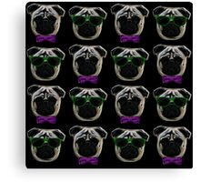 """Cool Pugs"" purple/green Canvas Print"