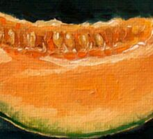 Elopement Announcement, Humorous, Cantaloupe Painting, Pun Sticker